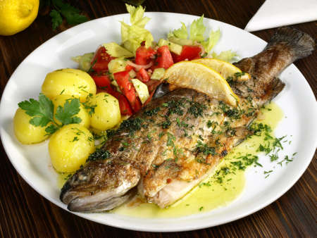 Grilled Trout with Potatos and Salad
