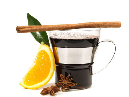 Mulled Wine with Cinnamon on white background - Isolated.