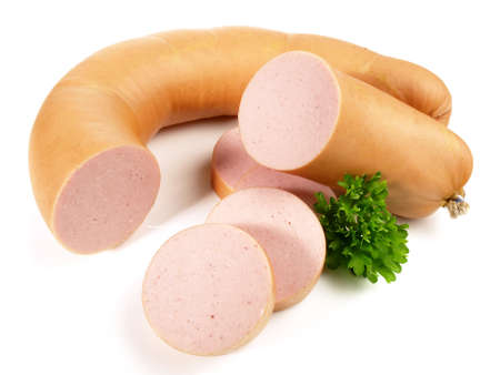 German Meat Sausage, isolated on white background.