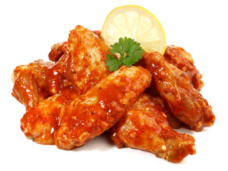 Barbecue - raw chicken wings on white background