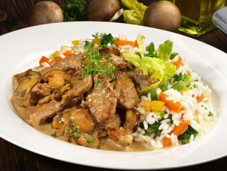 Sliced Veal Meat Zurich Style with Rice 版權商用圖片