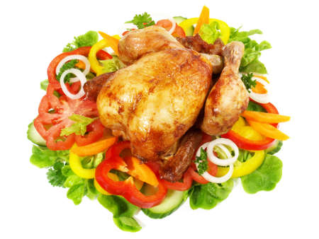 Grilled Chicken on various salads, isolated on white background. 版權商用圖片