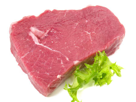 Raw Beef Steak on white background - Isolated