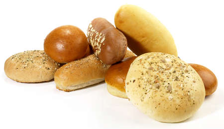 Various bread rolls for hamburger and hot dogs isolated on white background