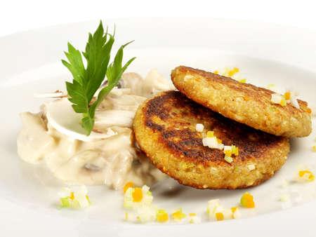 Green Spelt - Vegetarian Hamburger with Mushrooms on white background - Isolated