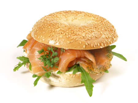Fast Food - Bagel with Salmon on white background - Isolated