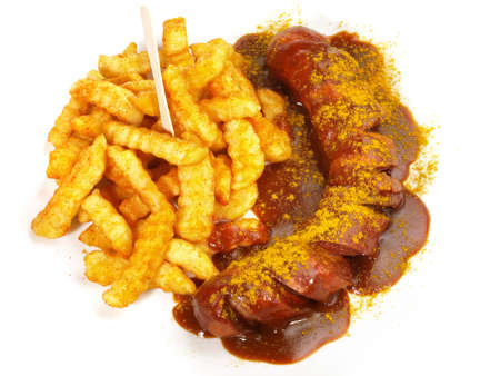 Curry Sausage with French Fries on white background - Isolated