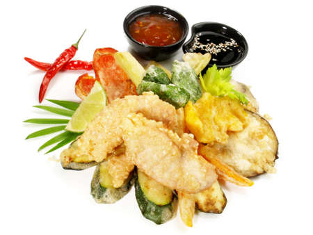 Fast Food - Vegetable Tempura with Soy and Dipping Sauce on white background - Isolated