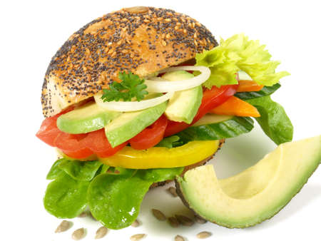 Vegetable bun with avocado on white background - Isolated