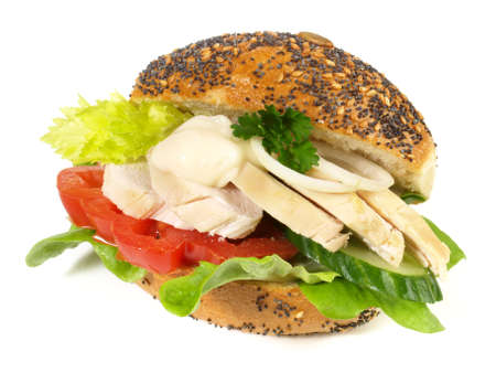 Vegetable Bun with Avocado and Chicken on white background - Isolated 版權商用圖片