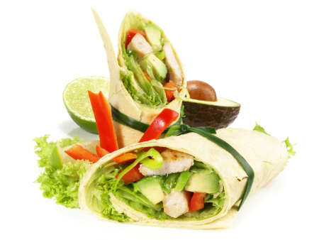 Chicken Wrap on white background - Isolated