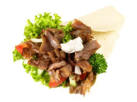 Durum Kebab Roll on white background - Isolated