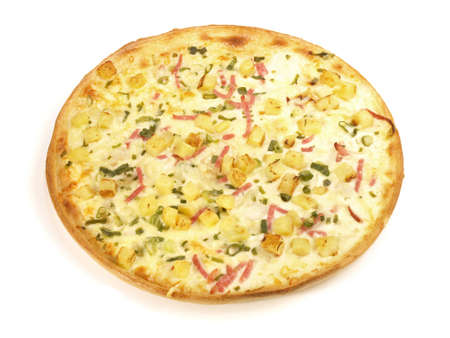 Traditional Tarte Flambee with Creme Fraiche, Leek, Potato and Bacon - Isolated