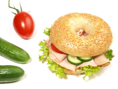 Fast Food - Bagel with Ham on white background - Isolated