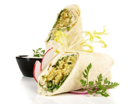 Falafel Wraps - Fast Food on White Background - Isolated 版權商用圖片