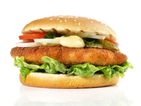 Fish burger - hamburger on white background - isolated 版權商用圖片
