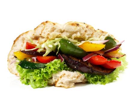Vegetable Kebab - Fast Food on white background - Isolated 版權商用圖片