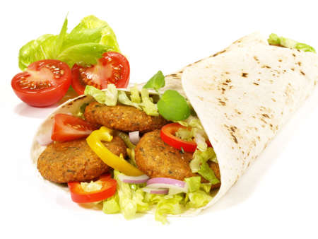 Falafel Wrap - Fast Food on White Background - Isolated