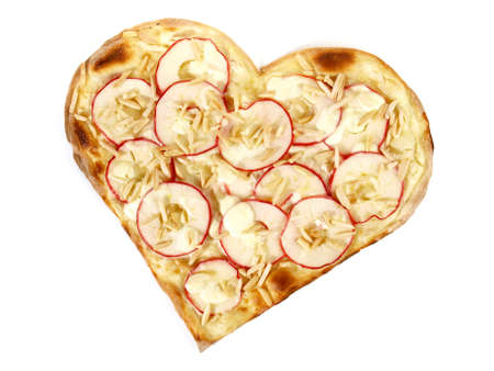 Sweet Tarte Flambee with Creme Fraiche and Apple on white background - Isolated