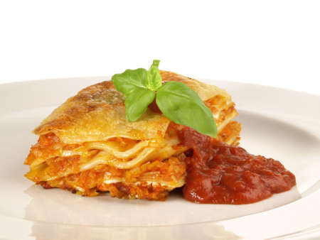 Vegetarian Lasagne with Tomato Sauce - Isolated