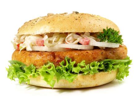 Falafel Hamburger - Fast Food on White Background - Isolated