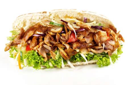 Kebab Sandwich on white background - Isolated 版權商用圖片