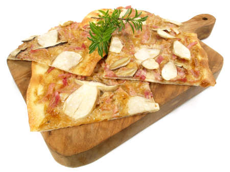 Traditional Tarte Flambee with Creme Fraiche, Mushrooms, Onion and Bacon on white background - Isolated