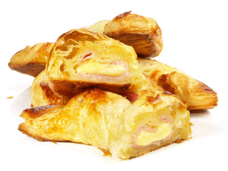 Croissant filled with Ham and Cheese on white background - Isolated 版權商用圖片
