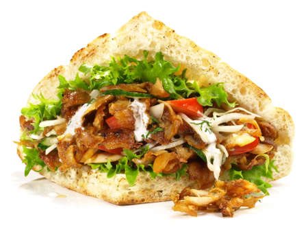 Kebab Sandwich on White - Isolated