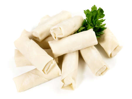 Spring Rolls - Fast Food on white background - Isolated 版權商用圖片