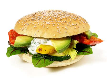 Vegetarian Hamburger with Avocado - Fast Food - Isolated
