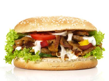 Gyros Hamburger - Fast Food on White Background - Isolated 版權商用圖片