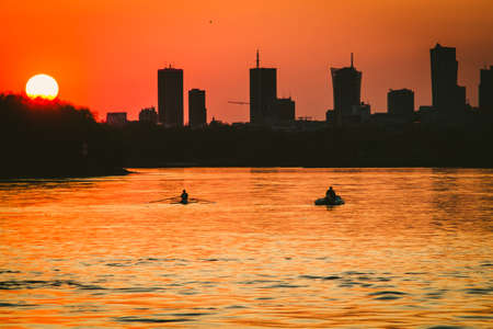 Canoeist on Vistula river