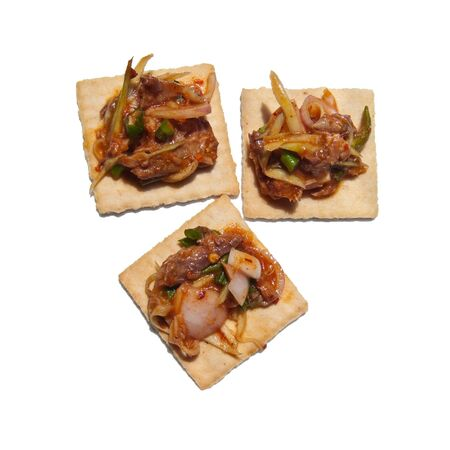 Cracker with thai dressed sardine salad hot and spicy tasty photo