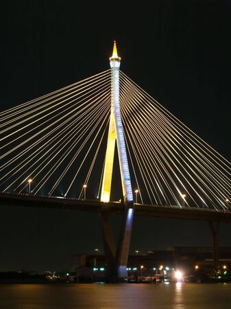 Bhumibol Bridge also casually call as Industrial Ring Road Bridge at night scene, Samut Prakarn,Thailand Stock Photo
