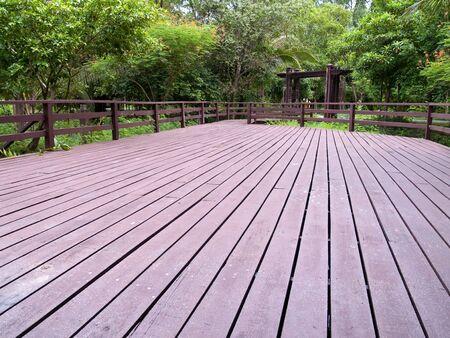 samutprakarn: Small wooden yard in Sri Nakorn Kuen Khan Park, Samutprakarn, Thailand