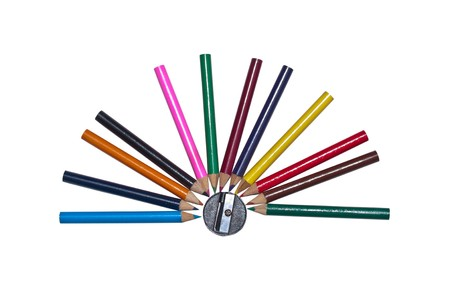 semicircular: Semicircular of color pencils encircle the sharpener