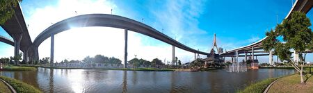casually: Panorama of Bhumibol Bridge also casually call as Industrial Ring Road Bridge, Samut Prakarn,Thailand