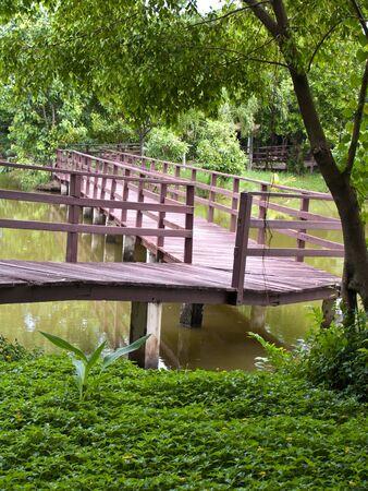 samutprakarn: Wooden bridge in Sri Nakorn Kuen Khan Park, Samutprakarn, Thailand