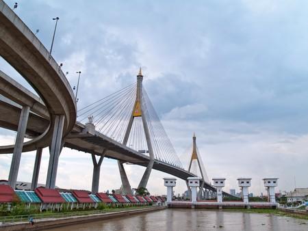 Floodgate with Bhumibol Bridge also casually call as Industrial Ring Road Bridge, Samut Prakarn,Thailand Stock Photo