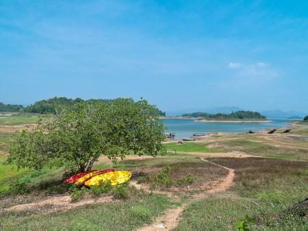 Bright color canoe park under shade from tree in Kaeng Krachan National Park, Phetchaburi, Thaiand photo