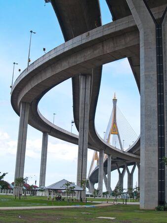 samutprakarn: Bhumibol Bridge also casually call as Industrial Ring Road Bridge, Samut Prakarn,Thailand
