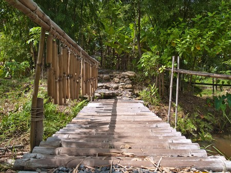 Old bamboo bridge among nature cross over canal photo