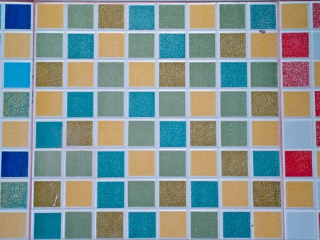 Abstract colorful square block mosaic tile on wall photo