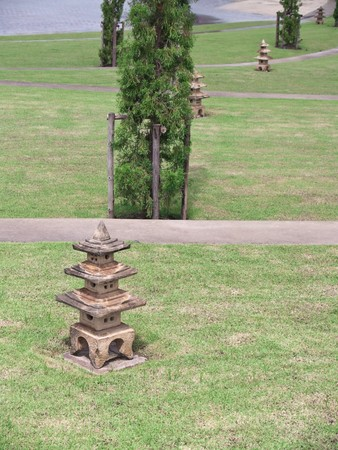 Native Japanese of stone lantern in garden Stock Photo - 8137930