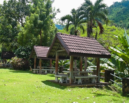 Small pavilion among nature with mountain background Stock Photo - 8383491