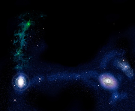 Beautiful stars of outerspace in darkness sky photo