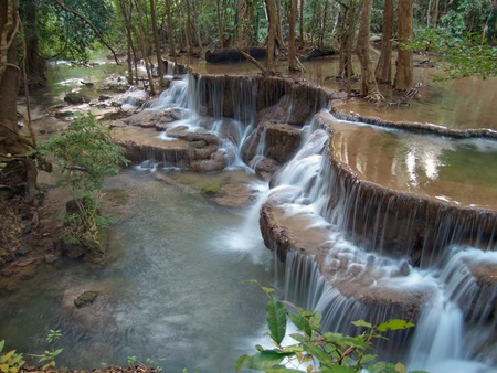 Sixth level of Huay Mae Kamin Waterfall, Khuean Srinagarindra National Park, Kanchanaburi, Thailand Stock Photo