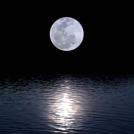 Full moon over water with abstract shining water photo
