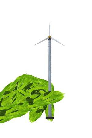 Eco concept natural hand holding a wind energy generator, isolated on white Stock Photo - 9170100